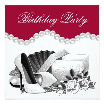 white rose pearls high heels red birthday party invitation