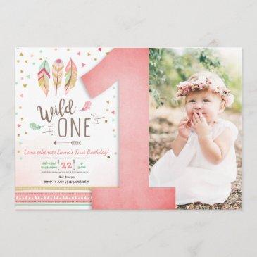 wild one birthday girl pink gold 1st boho feathers invitation