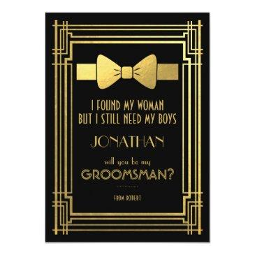 Small Will You Be My Groomsman | Great Gatsby Groomsmen Invitations Front View