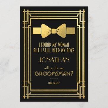 will you be my groomsman   great gatsby groomsmen invitation