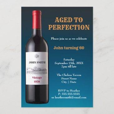 wine bottle aged to perfection | invitation invitations