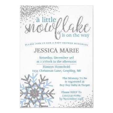 winter baby shower invitations - blue snowflake