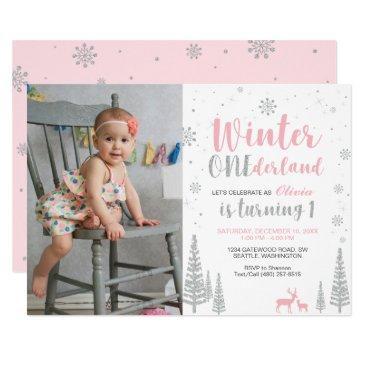 winter onederland 1st birthday invitations - girl
