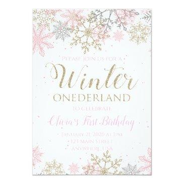 Small Winter Onederland First Birthday Invitation Front View