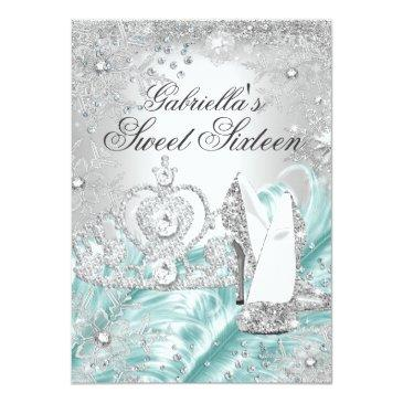 Small Winter Sparkle Snowflake Blue Sweet 16 Invite Front View