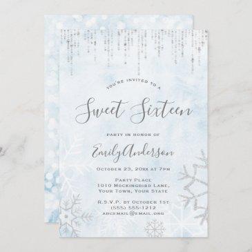 winter wonderland blue silver snow ice sweet 16 invitation