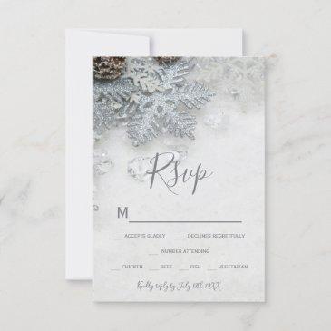 winter wonderland silver snow typography rsvp