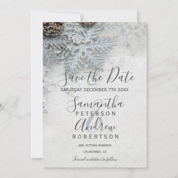 winter wonderland silver snow typography wedding save the date