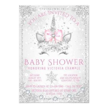 winter wonderland snowflakes unicorn baby shower invitation