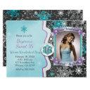 winter wonderland sweet 16 party photo invitations