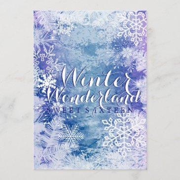 winter wonderland theme sweet sixteen birthday invitation