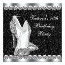 womans elegant black 40th birthday party invitation