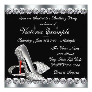 Small Womans Elegant Black Birthday Party Invitations Back View
