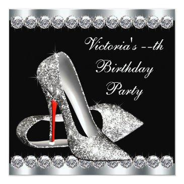 womans elegant black birthday party invitation