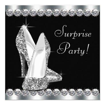 Small Womans Elegant Black Surprise Birthday Party Invitations Front View
