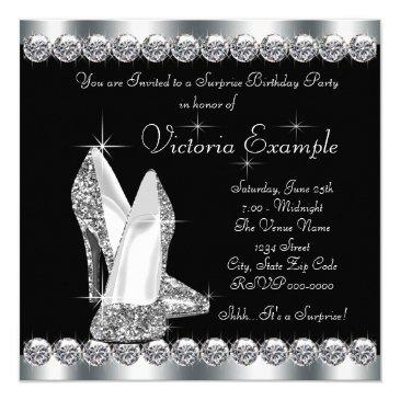 Small Womans Elegant Black Surprise Birthday Party Invitations Back View