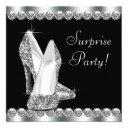 womans elegant black surprise birthday party invitation