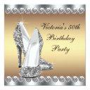 womans gold 50th birthday party invitation