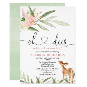 woodland deer pink gold greenery girl baby shower invitation
