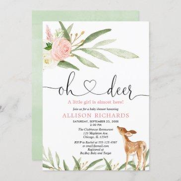 woodland deer pink gold greenery girl baby shower invitation
