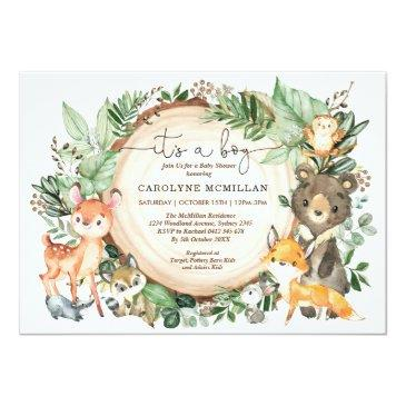 Small Woodland Forest Greenery Wild Animals Baby Shower Invitation Front View