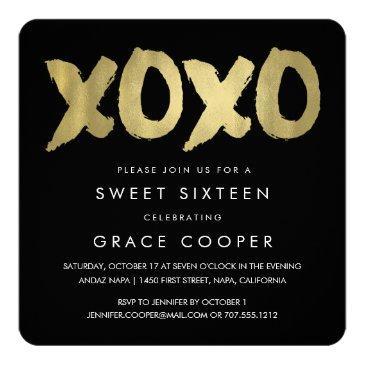 xoxo faux gold & black sweet sixteen invitation