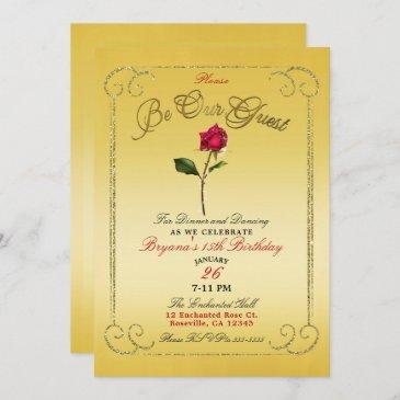 yellow gold red rose beauty birthday party invitation