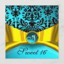 yellow gold ribbon teal blue black damask monogram invitation