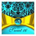 yellow gold ribbon teal blue black damask monogram invitation