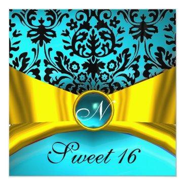 Small Yellow Gold Ribbon Teal Blue Black Damask Monogram Invitation Front View