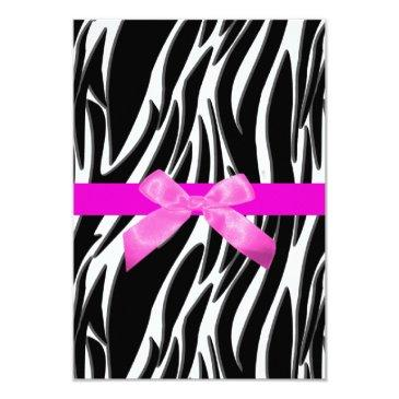 zebra event invitations pink