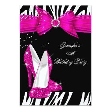 zebra hot pink high heel shoe black birthday 3