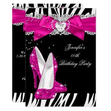 zebra hot pink high heel shoe black birthday 4