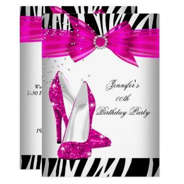 zebra hot pink high heel shoe black birthday party invitations