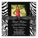 zebra photo sweet 16 party invitation