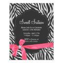 zebra print pink ribbon & diamond fashion sixteen invitations