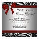 zebra red bow fancy sweet sixteen invitation