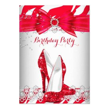 zebra red white high heel lace pearl birthday invitation