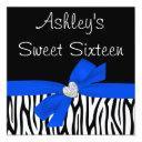 zebra royal blue bow diamond sweet 16 invitations